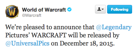 WARCRAFT Gets Release Date – December 18th, 2015