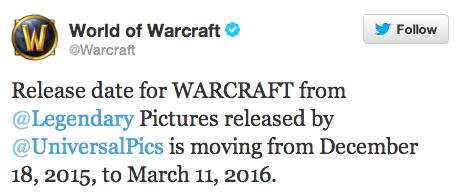 WARCRAFT Movie New Release Date Confirmed