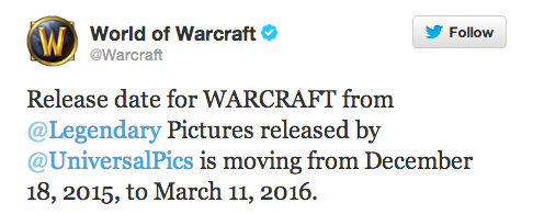 WARCRAFT Release Moving to March 11th 2016